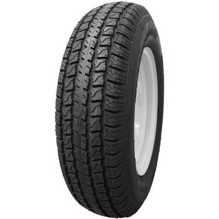 Hi Run Specialty Trailer Tire/Wheel Assembly ST175/80D13 6PR on 13X4.5 5-4.5 WHITE WHEEL (8 SPOKE) (13 Inch 4 Lug Trailer Wheels And Tires)