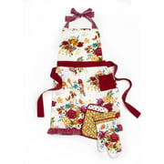 Pioneer Woman Timeless Floral Kitchen 3-Piece Set: Includes Apron, Oven Mitt, and Potholder