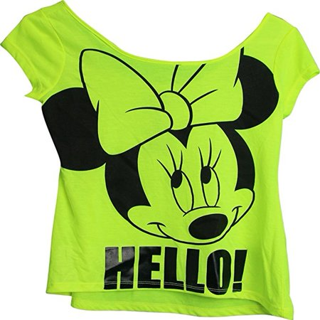 Minnie Mouse Hello Large Minnie Face Womens T-Shirt Neon Green (Small (Hello Hello Don T Believe Its Fair)