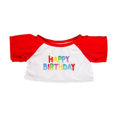 Happy Birthday T-Shirt w/ Red Teddy Bear Clothes Fits Most 14