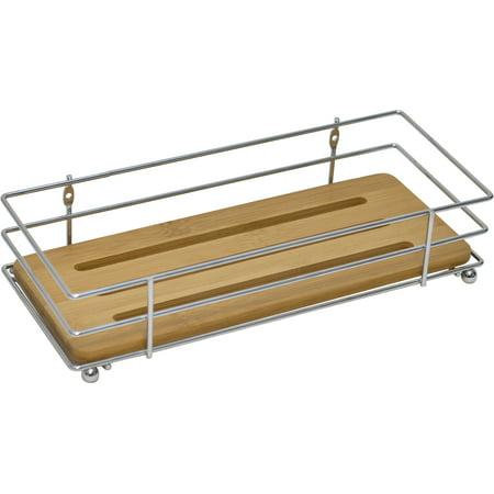 Bathroom Metal Wire Shelf Basket Organizer With Bamboo Tray Brown ...