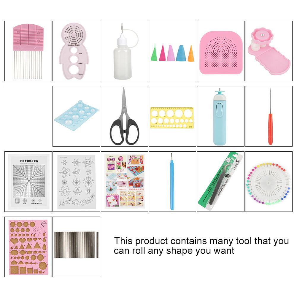 Color Random 24Pcs DIY Quilling Paper Slotted Tools Set Beginners Paper Quilling Tools Kit for Art Craft Decoration