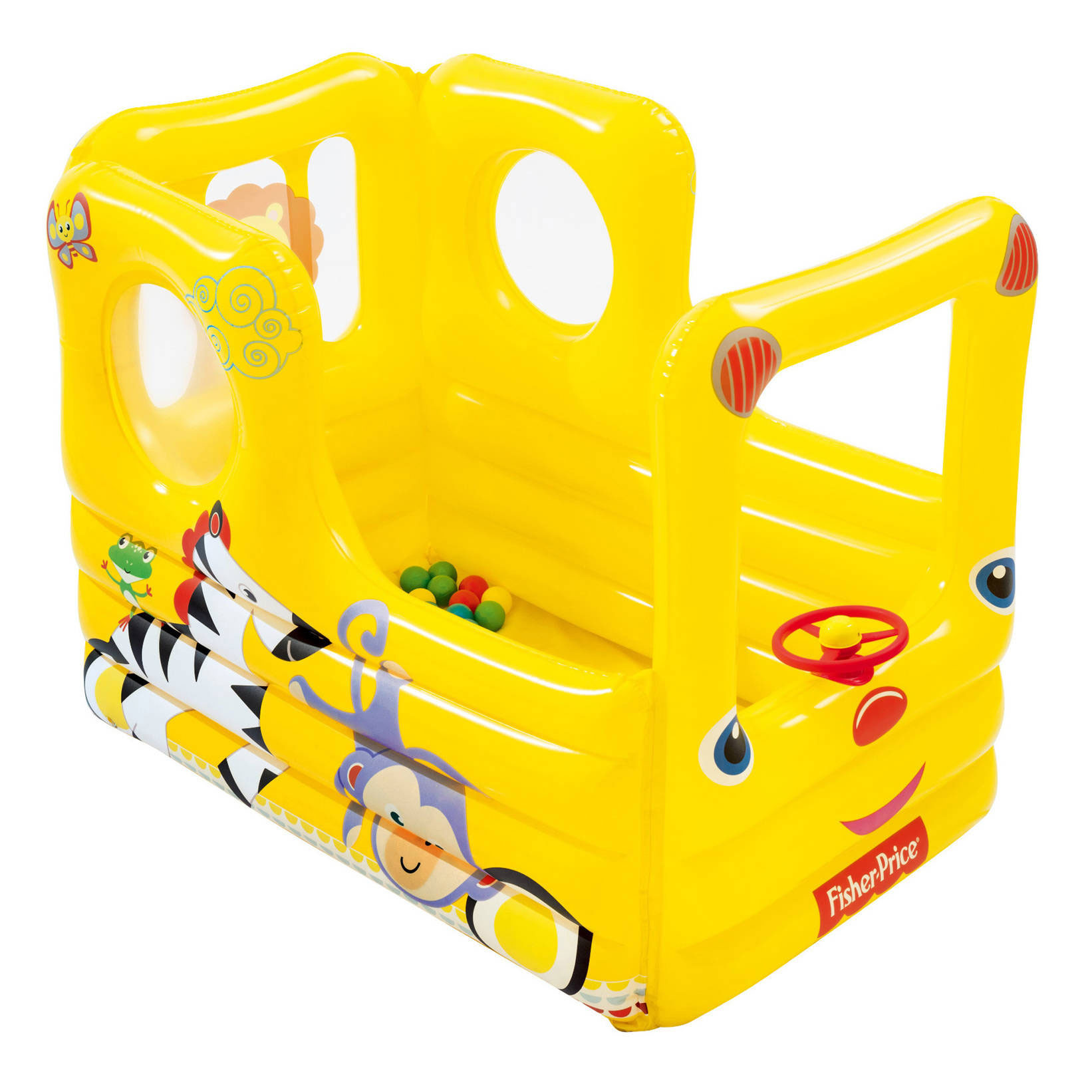 Fisher Price Lil' Learner School Bus Inflatable Play House Ball Pit with Balls by Fisher-Price