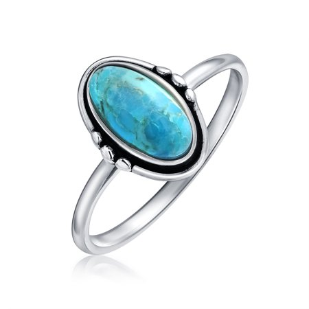 Modern Southwestern Style Compressed Turquoise Oval Ring Band Bali Boho 925 Sterling Silver