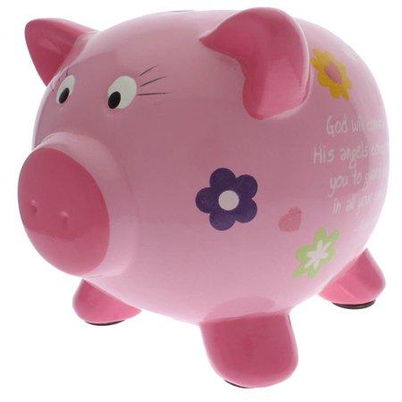 Pink Inspirational Ceramic Piggy Bank For Girls