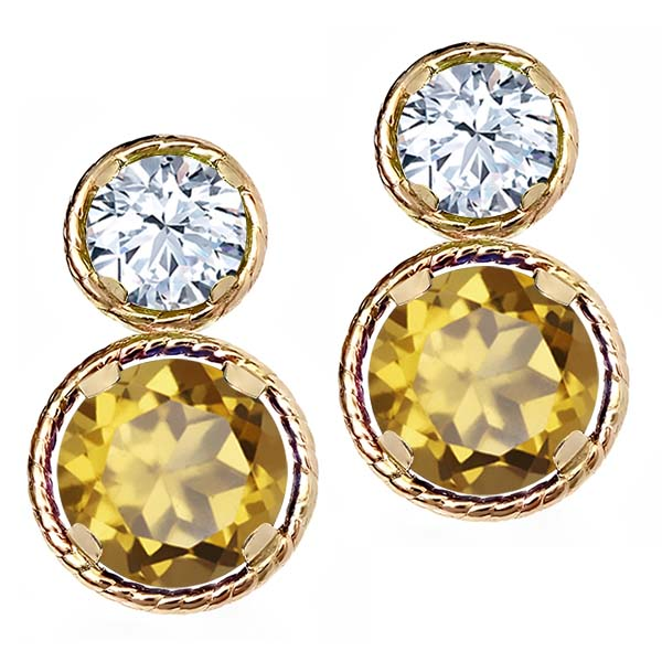 2.26 Ct Round Champagne Quartz White Topaz 14K Yellow Gold Earrings