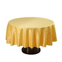 Hotel Restaurant Polyester Round Tablecloth Table Cloth Cover Gold Tone 1.8M Dia