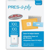 PRES-a-ply, AVE30605, Labels for Laser and Inkjet Printers, 100 / Box, White