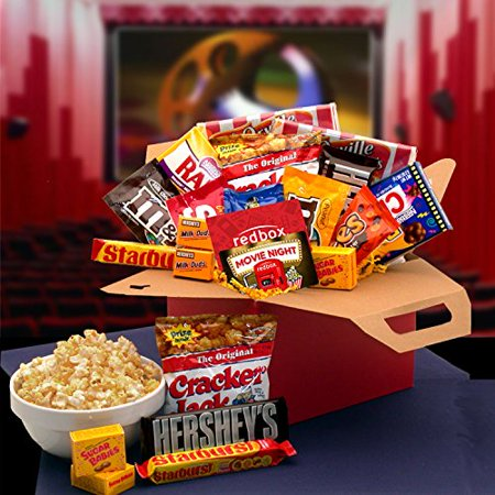 Movie Night! Movie Gift Basket with Candy and Popcorn