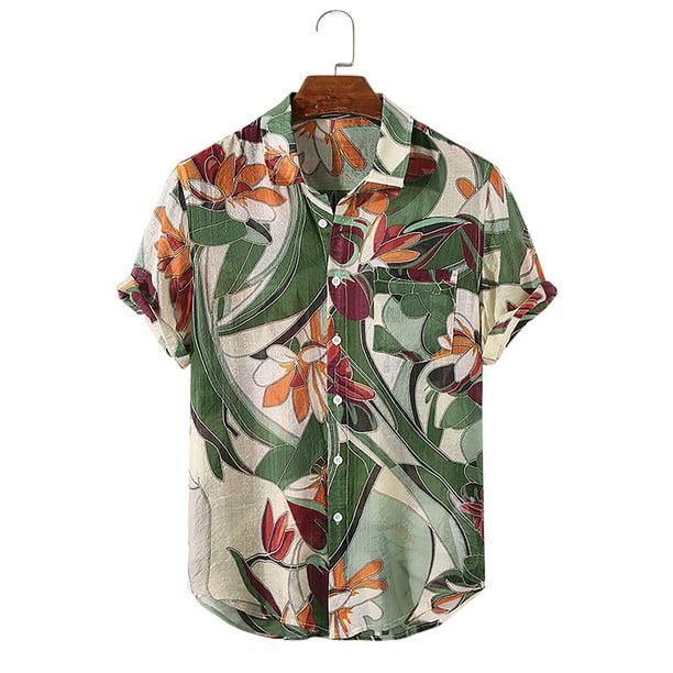 Colisha Men Hawaiian Shirt Casual Tropical Aloha T Shirt Short Sleeve Beach Holiday Leisure Tee Shirt Summer Flower Floral Tops
