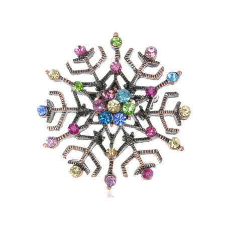 Snowflake Holiday Christmas Crystal Rhinestone Copper Toned Fashion Brooch - Copper Swirl Pin