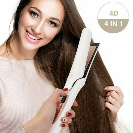 Dry/Wet Straight Hair/Curly Hair 4 in 1 Professional 4D Vapor Steam Ceramic Vapor Flat Iron Hair Straightener Curly Curler LCD