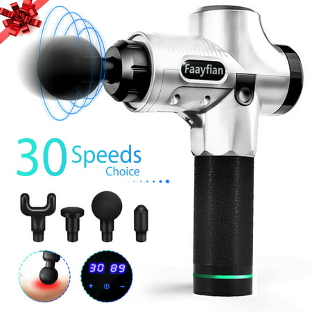 Faayfian Muscle Massage Gun- 30 Speeds 4 Heads Professional Powerful Handheld Deep Tissue Muscle Massager- Percussion Massager for Trigger Points and Muscle Recovery for High Performance Athletes ()