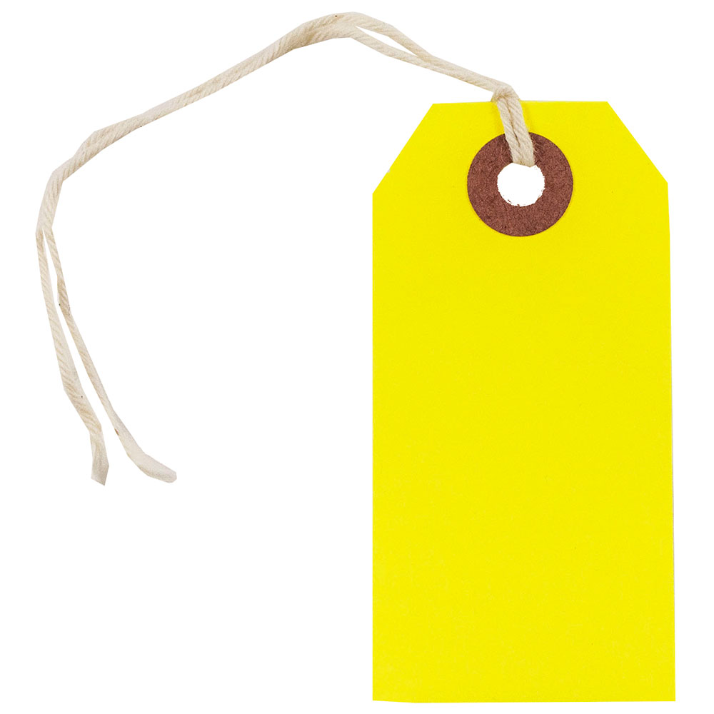 JAM Paper Gift Tags with String, Small, 3 1/4 x 1 5/8, Neon Yellow, 100/pack