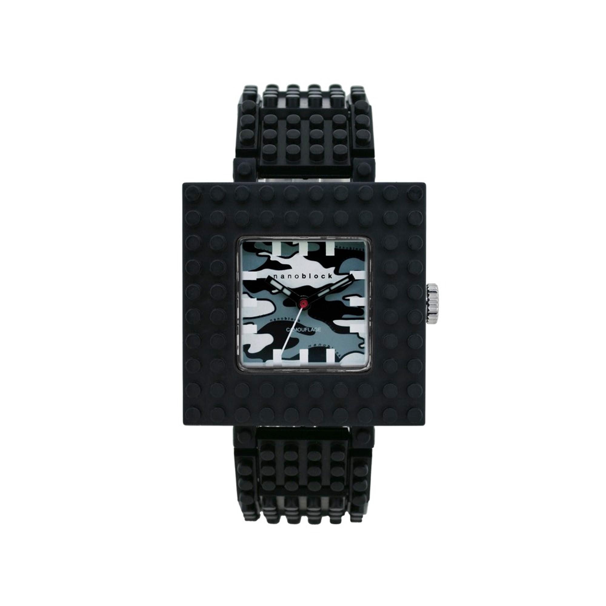 Nanoblocktime Nano Camo Squared Watch, Black Camo by Nanoblocktime