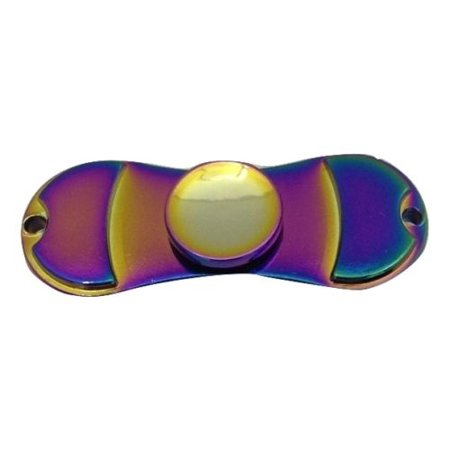 Fidget Spinner Toy Mini Dual Rainbow Metallic Style Stress & Anxiety Reducer with Ball Bearing - Fidget Spinner Mini Dual Rainbow Metallic Style