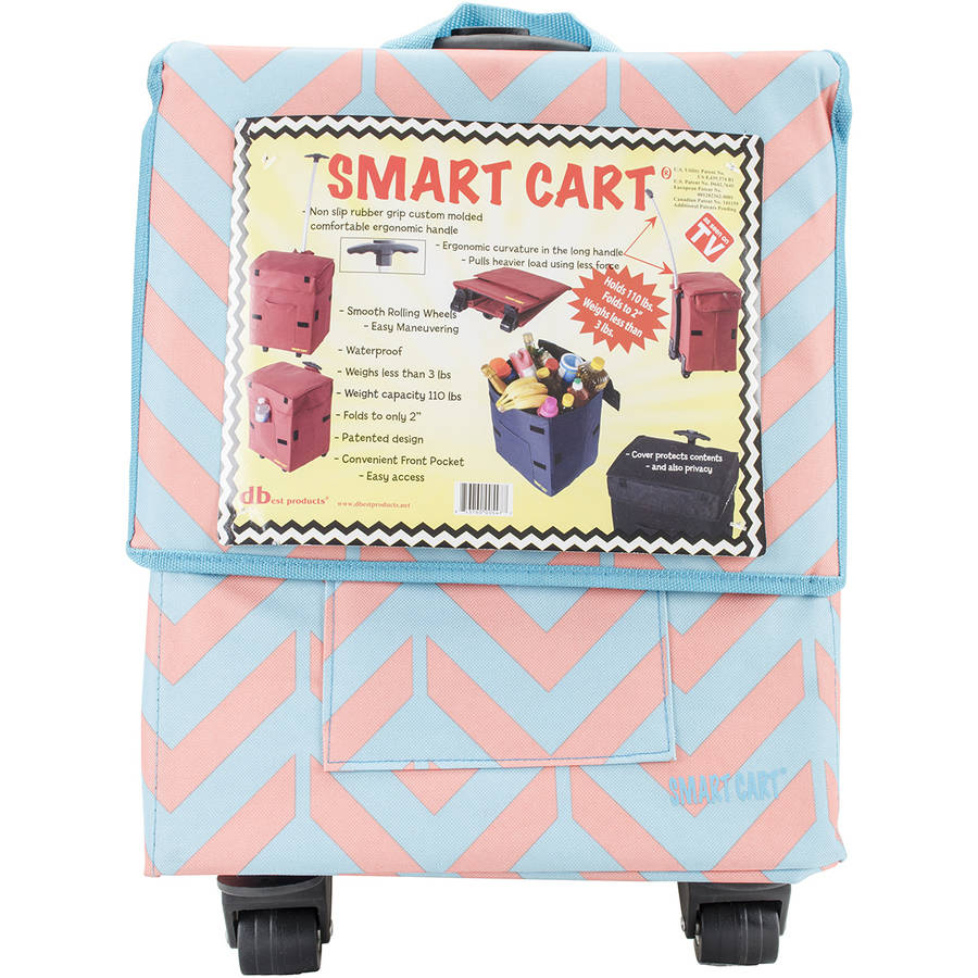Trendy Smart Cart - Rolling Carry Case - Collapsible Handle - Coral/Blue Chevron