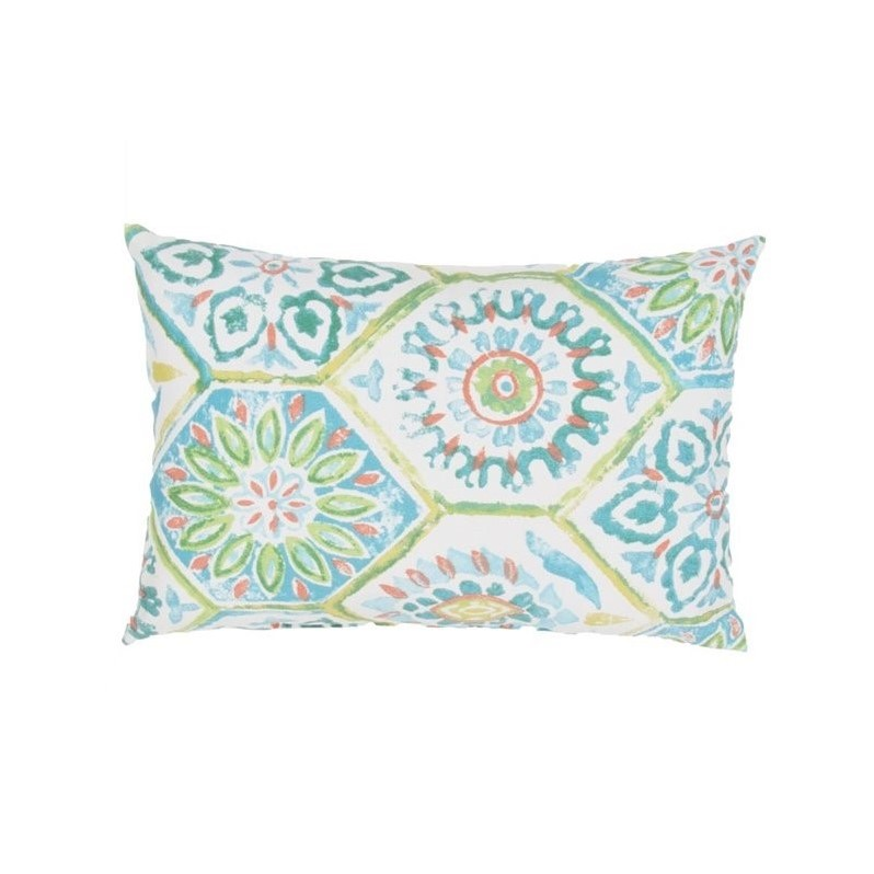 "Jaipur Rugs Veranda 18"" Polyester Pillow in Blue and Green"