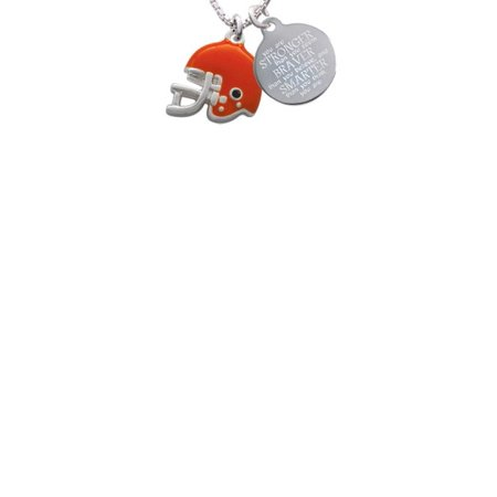 Silvertone Small Orange Football Helmet Stronger Braver Smarter Engraved Necklace - Small Football Helmets