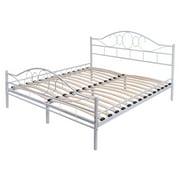 costway queen size wood slats steel bed frame platform headboard footboard bedroom white - Headboard And Bed Frame