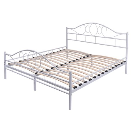 Costway Queen Size Wood Slats Steel Bed Frame Platform