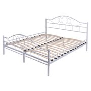 costway queen size wood slats steel bed frame platform headboard footboard bedroom white - Bed Frames Queen Size