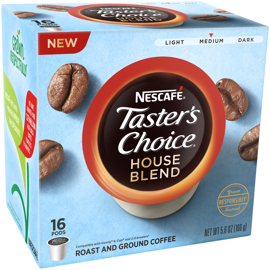Nescafe Tasters Choice House Blend Medium Roast and Ground Coffee Pods 16 ct Box