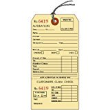 Alteration Tags with String and Claim Check, Manila, 3.125 x 6.25 inches, Consecutively Numbered - 25 TAGS Alteration Tags with String and Claim Check, Manila, 3.125 x 6.25 inches, Consecutively Numbered - 25 TAGS