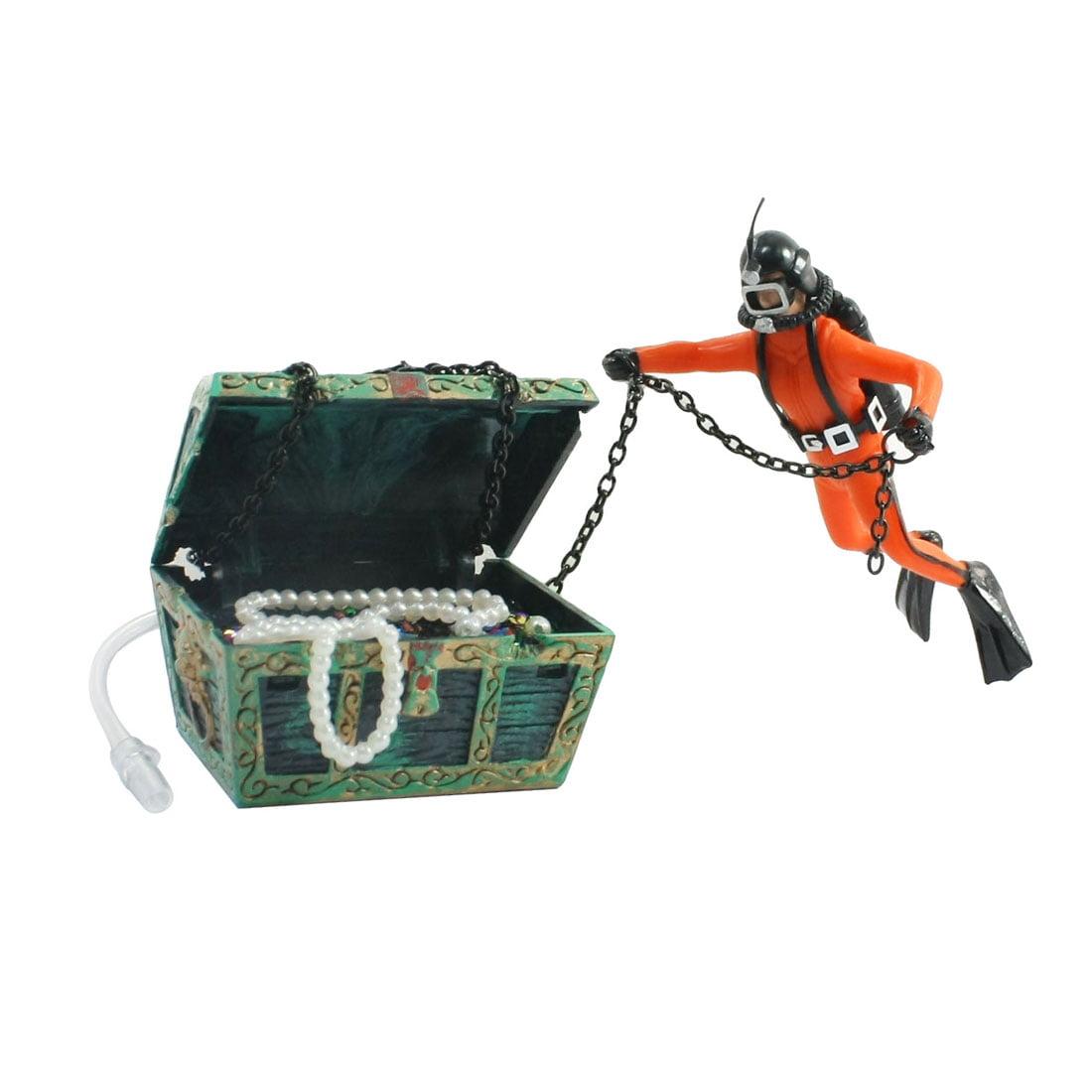 UXcell Plastic Diver Treasure Model Air-operated Fish Tan...