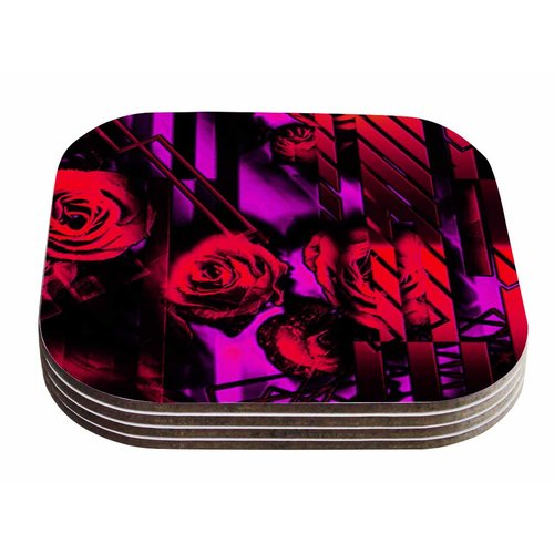 East Urban Home Dawid Roc 'Roses-Flower Geometric' Coaster (Set of 4)