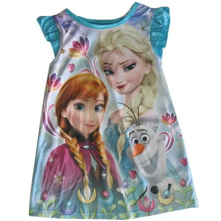 Little Girls Blue Frozen Elsa Anna Olaf Print Nightgown 2T-4T](4t Nightgown)