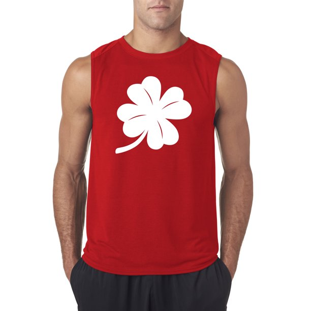 Trendy USA 782 - Men's Sleeveless Four Leaf Clover Lucky Irish ST Patricks Day XL Red