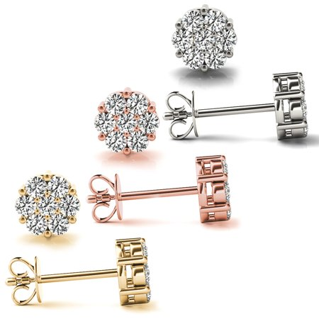 0.50 CT 7-Stone Round Cut Cluster Diamond Stud Earrings in 14KT Rose Gold