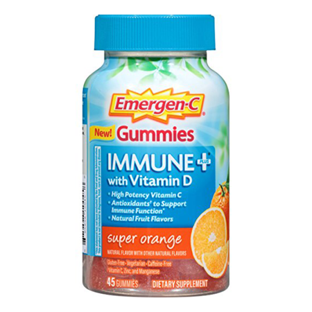 Multiple Sclerosis Immune System (Emergen-C Immune+ Gummies (45 Count, Super Orange Flavor) Immune System Support with 500mg Vitamin C Dietary Supplement, Caffeine Free, Gluten)