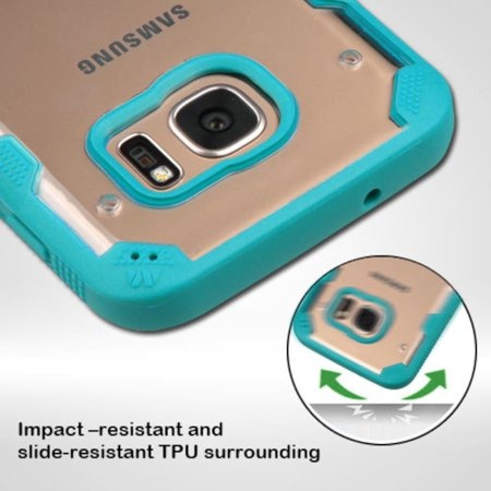 Insten Polygon Hard TPU Cover Case For Samsung Galaxy S7 - Clear/Teal - image 2 of 9