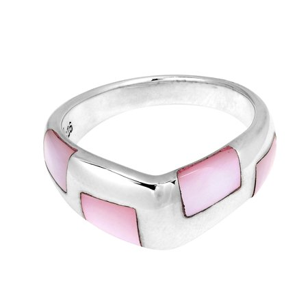 Pointy Ears (Mod Pink MOP Pointy  Band .925 Silver)