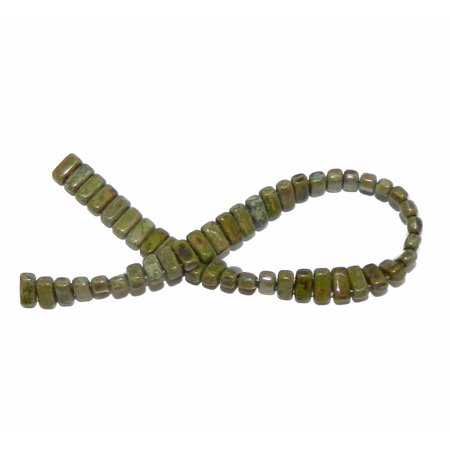 - Picasso Opaque Olive Brick 3x6mm Square Glass Czech 50 Two Hole, Loose Beads,