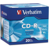 Verbatim, VER94936, 700MB Branded 52X Slim Case CD-R, 20