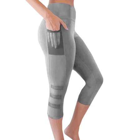 313b89f492 VISTA - Women Tights Capri Running yoga Sport Pants High Waist Cropped  Leggings Fitness Outerdoor Sportwear with pocket - Walmart.com