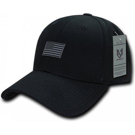 RapDom USA Structured Small Rubber Flag Mens Cap [Black - Adjustable] - Uta Caps
