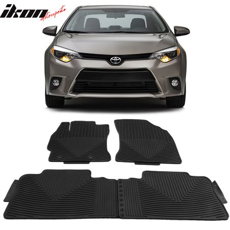 Compatible with 14-19 Toyota Corolla Latex All Weather Floor Mats Carpet Black ()