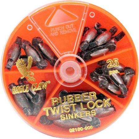 Eagle Claw Sinker Assortment Rubber Twist Lock, 25-Pack