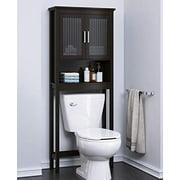Spirich Bathroom Shelf Over The Toilet, Bathroom Cabinet Organizer with Moru Tempered Glass Door (Espresso)