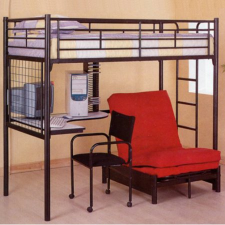Coaster Furniture Black Student Loft Bed With Futon Chair