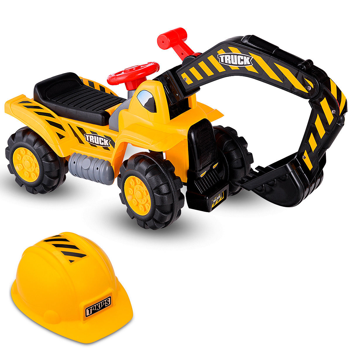 Costway Kids Toddler Ride On Excavator Digger Truck Scooter Seat Storage w/Sound&Helmet