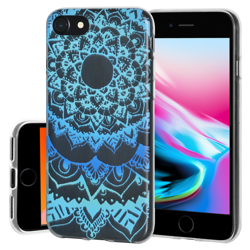 iPhone 8 Case, Soft Gel Skin TPU Cover Fashion Style Slim Designer Clear Back Cover - Mandala Ocean for iPhone 8 , Semi transparent, Flexible, Added Grip