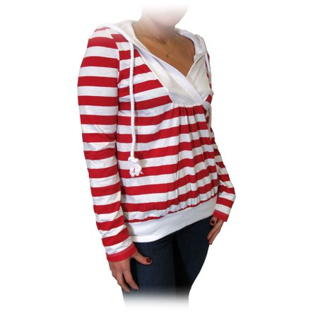 Twili Nautical Stripe Lightweight Hoodie with Pull String - Red/White (Medium)
