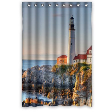 Ganma Beautiful Lighthouse By The Seaside Shower Curtain Polyester