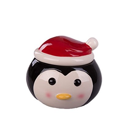 c00c1aa4c3f50 Colorful Ceramic Penguin Shaped Holiday Cookie Jar with Santa Hat Lid (Red)  - Walmart.com