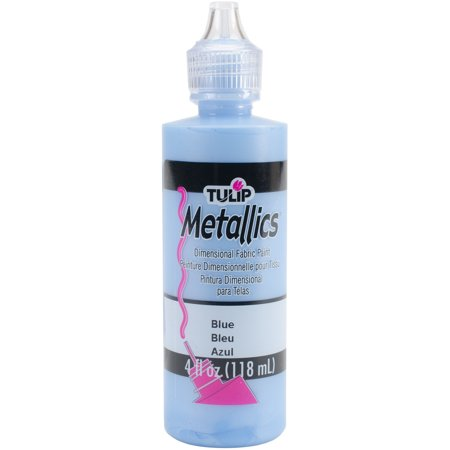 Tulip Metallics Dimensional Fabric Paint 4oz-Blue (Metallic Fabric Paint)